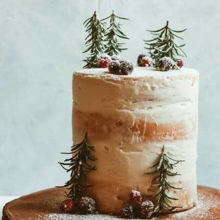 White Almond Cake with Cranberry Almond Buttercream