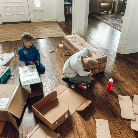 kids taping boxes together
