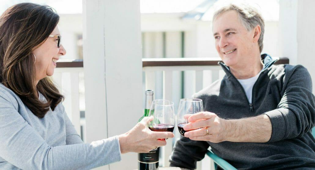 couple enjoying some wine