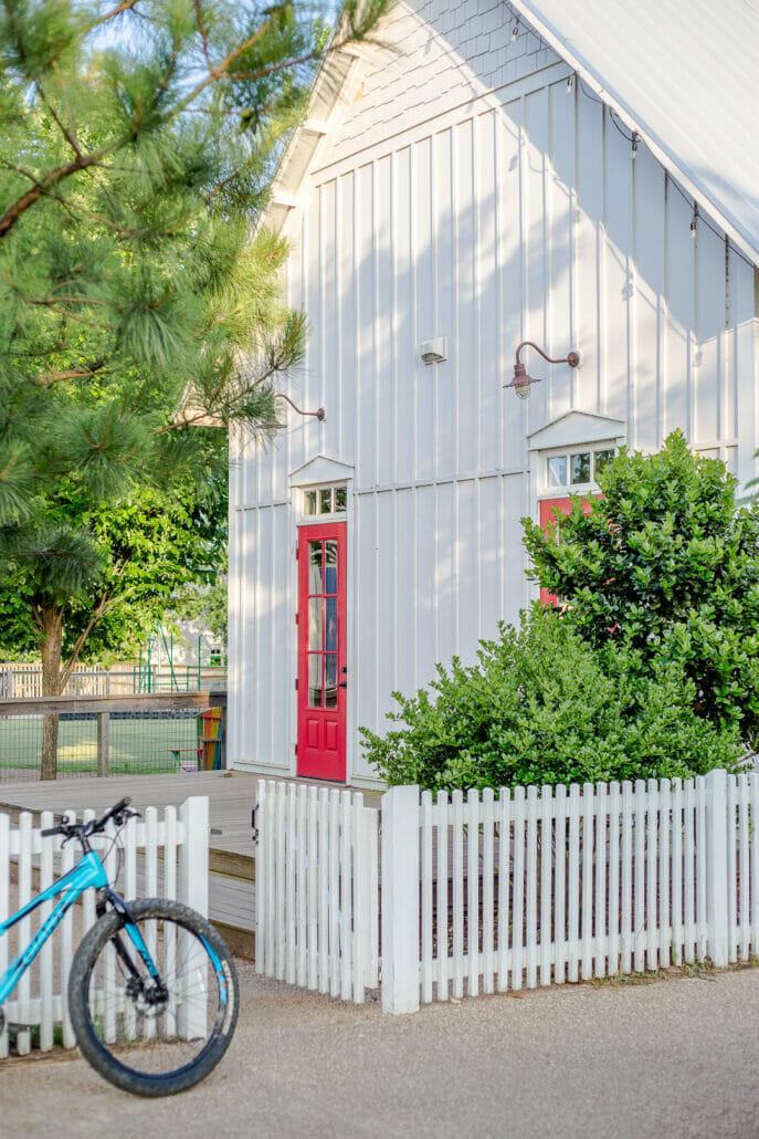 bike sitting outside of fence